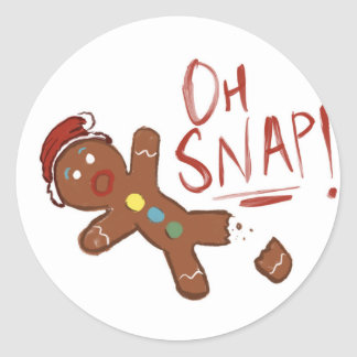 Oh Snap Gingerbread Man Classic Round Sticker