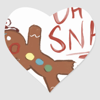 Oh Snap Gingerbread Man Heart Sticker
