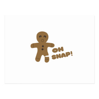oh snap, gingerbread man, merry christmas postcard