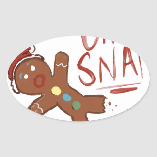 Oh Snap Gingerbread Man Oval Sticker