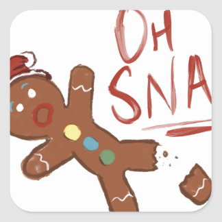 Oh Snap Gingerbread Man Square Sticker