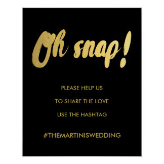 OH SNAP hashtag gold glam sign | editable color Poster