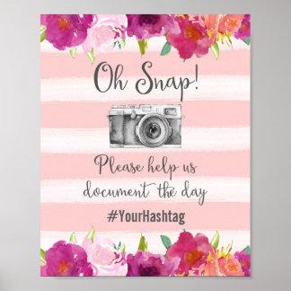 Oh Snap Hashtag Wedding Poster Print
