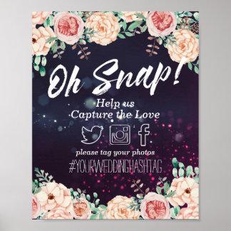 Oh Snap Hashtag Wedding Sign Floral Purple Sparkle