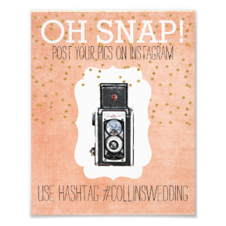 Oh Snap Instagram Coral Gold Hashtag Poster