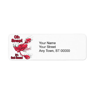 oh snap its crab season funny scared crab return address label