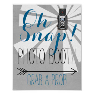 Oh Snap Photo Booth Vintage Camera Wedding Poster