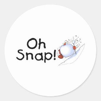 Oh Snap Snowball Round Sticker