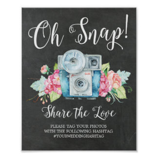 Oh Snap Vintage Camera Hashtag Wedding Sign