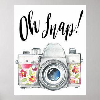 Oh Snap Watercolor Camera Illustration Poster