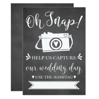 Oh Snap Wedding Hashtag Sign Card