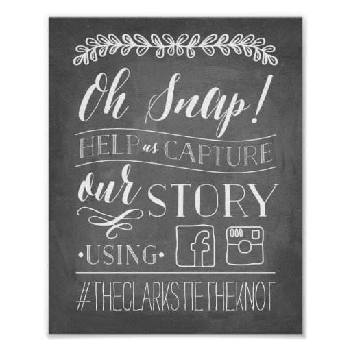 Oh Snap! Wedding Hashtag Sign Poster Zazzle