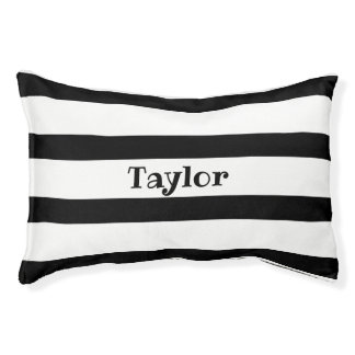 Oh So Soft Black and White Stripes Pet Bed