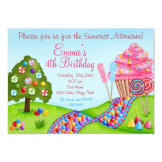 "Oh Sweet Candy Land Birthday Cupcake Invitations 4.5"" X 6.25"" Invitation Card"