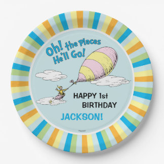 Oh! The Places He'll Go! - First Birthday Paper Plate