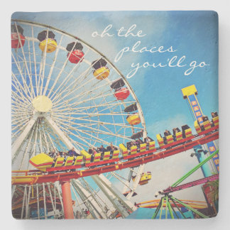 """Oh the Places"" Quote Fun, Huge Ferris Wheel Photo Stone Coaster"