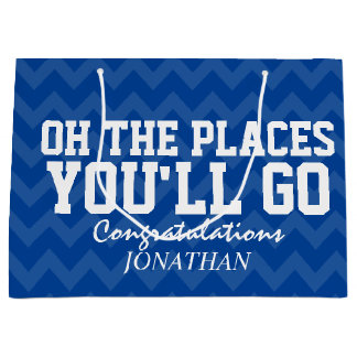 Oh The Places You Will Go Navy Blue Graduate Large Gift Bag