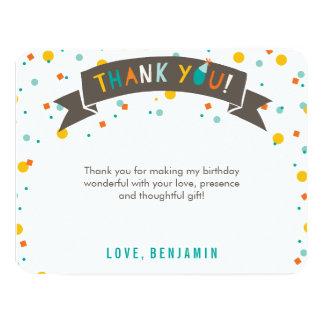 "Oh What Fun Confetti 1st Birthday Thank You Card 4.25"" X 5.5"" Invitation Card"