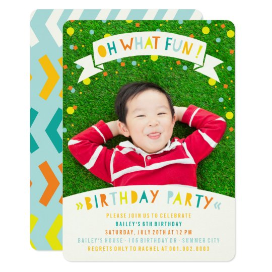 Oh What Fun Confetti Dot Boy Birthday Party Invite
