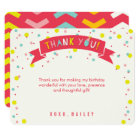 Oh What Fun Confetti Girl Birthday Thank You Card