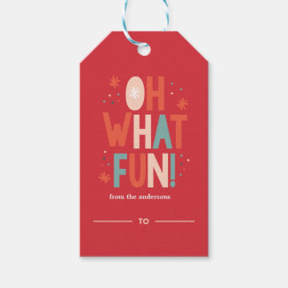 Oh What Fun! Festive Typography Gift Tag