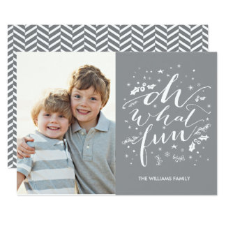 Oh What Fun | Holiday Photo Card Gray