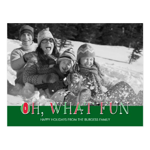 Oh What Fun Holiday Photo Card Postcard Postcards