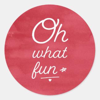 Oh What Fun Holiday Round Sticker