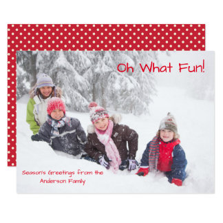 Oh What Fun Photo Red Dots - 3x5 Christmas Card