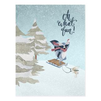 Oh What Fun Raccoon and Bunny Christmas Postcard