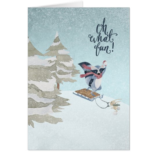 Oh What Fun Raccoon and Rabbit Christmas Card