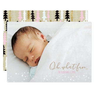Oh What Fun Retro Christmas Tree Photo Card
