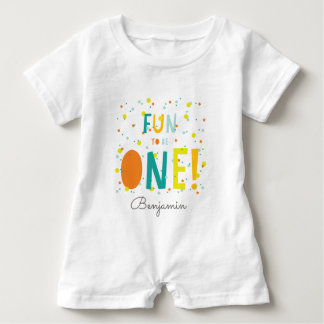 Oh What Fun To Be ONE Confetti 1st Birthday Party Baby Romper