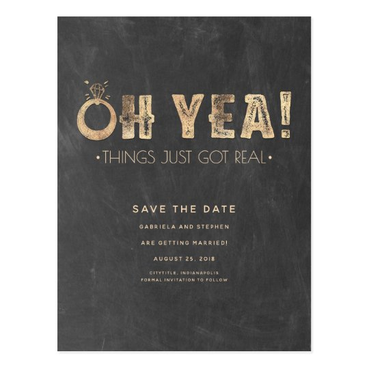 Oh Yea Things Just Got Real | Funny Save the Date Postcard