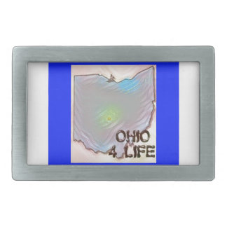 """Ohio 4 Life"" State Map Pride Design Belt Buckle"