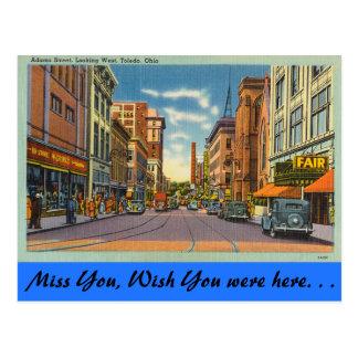 Ohio, Adams Street, Toledo Postcard