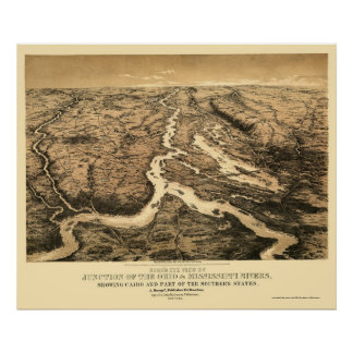 Ohio and Mississippi River Map 1861 Poster