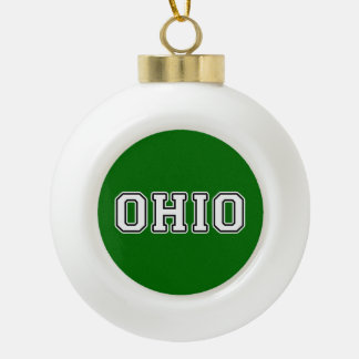 Ohio Ceramic Ball Christmas Ornament