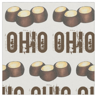 Ohio Chocolate Peanut Butter Buckeye Nut Candy OH Fabric