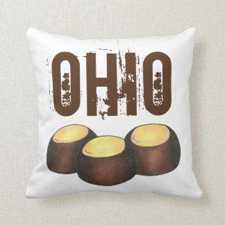 Ohio Chocolate Peanut Butter Buckeye Nut Candy OH Throw Pillow