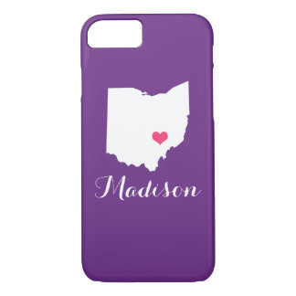 Ohio Heart Purple Custom Monogram iPhone 8/7 Case