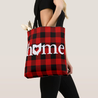 Ohio Home Heart Red Buffalo Check Pattern Tote Bag