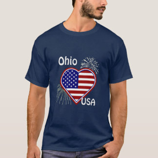 Ohio July 4th Fireworks Heart Flag Navy T-shirt