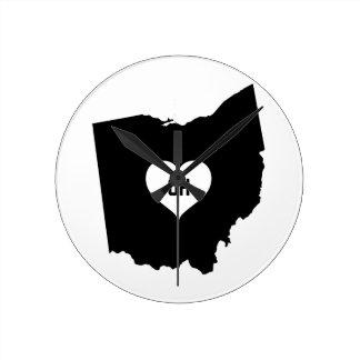 Ohio Love Round Clock