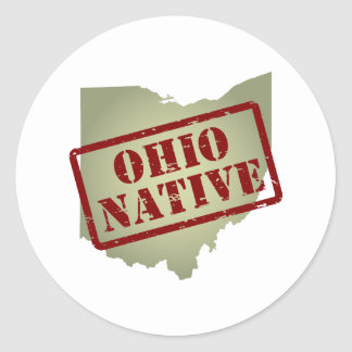 Ohio Native Stamped on Map Round Sticker