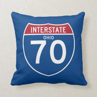 Ohio OH I-70 Interstate Highway Shield - Throw Pillow