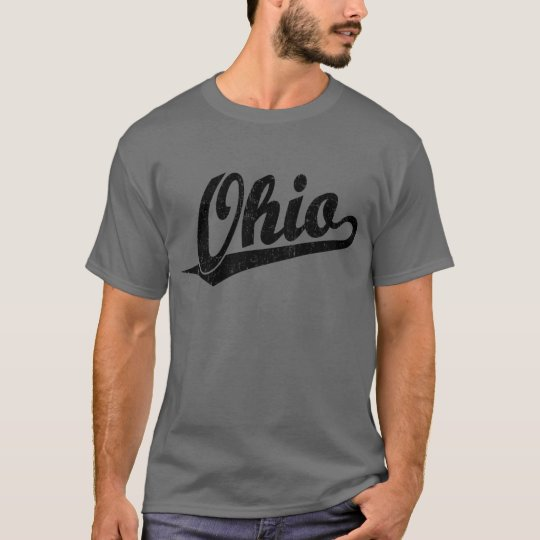 Ohio script logo in black distressed T-Shirt
