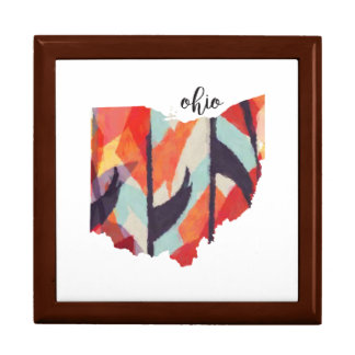 Ohio silhouette hand lettering gift box