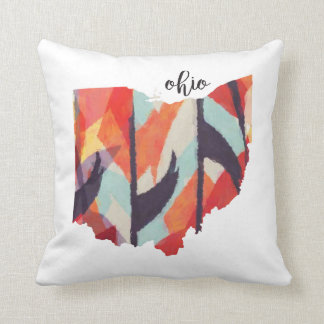 Ohio silhouette hand lettering throw pillow