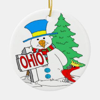 Ohio Snowman Cardinal Round Ceramic Ornament